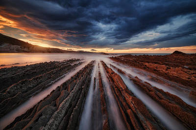 Sunset Wall Art - Photograph - Zumaia Flysch 6 by Juan Pablo De