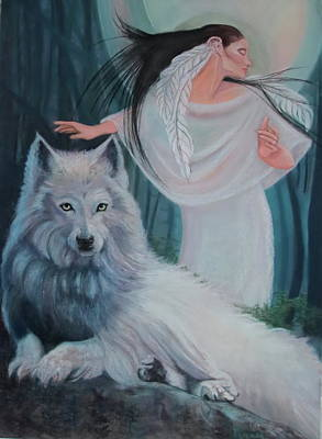 Pastel - Zuni Maiden With Her White Wolf by Pamela Mccabe
