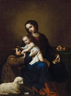Painting - Zurbaran  Francisco De Fuente De Cantos Badajoz 1598  Madrid 1664 The Virgin And Child Jesus And by Artistic Panda