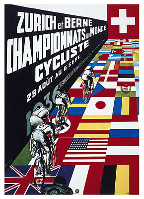 Mixed Media - Zurich at Berne Championnats du Monde Cycliste - Vintage Advertising Poster by Studio Grafiikka