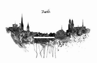 Zurich Black And White Skyline Print by Marian Voicu
