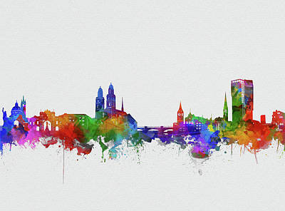 Abstract Skyline Royalty-Free and Rights-Managed Images - Zurich City Skyline Watercolor 2 by Bekim Art