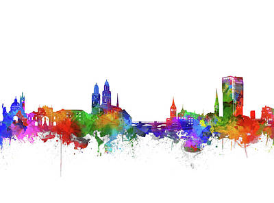 Abstract Skyline Royalty-Free and Rights-Managed Images - Zurich City Skyline Watercolor by Bekim Art