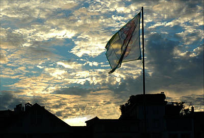 Photograph - Zurich Griffin Flag At Sunset by Ginger Wakem