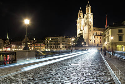 Zurich Night Rush In Old Town Art Print