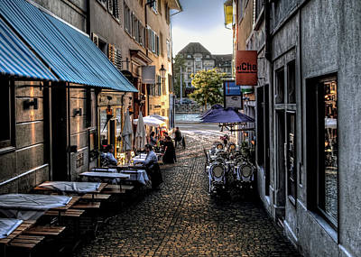 Zurich Old Town Cafe Art Print by Jim Hill
