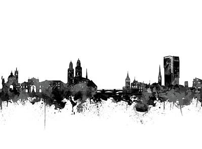 Abstract Skyline Royalty-Free and Rights-Managed Images - Zurich Skyline Black And White by Bekim Art