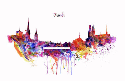 Zurich Skyline Print by Marian Voicu