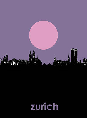 Abstract Skyline Royalty-Free and Rights-Managed Images - Zurich Skyline Minimalism by Bekim Art