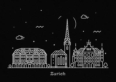 Drawing - Zurich Skyline Travel Poster by Inspirowl Design