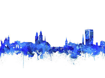 Digital Art - Zurich Skyline Watercolor Blue by Bekim Art