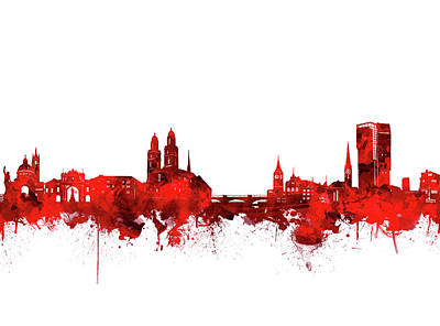 Abstract Skyline Royalty-Free and Rights-Managed Images - Zurich Skyline Watercolor Red by Bekim M