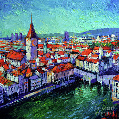 Chimney Painting - Zurich View by Mona Edulesco