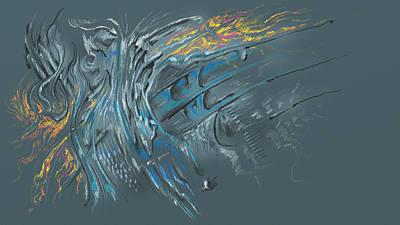 Art Print featuring the digital art Zuul Azul by Keith A Link
