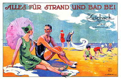 Royalty-Free and Rights-Managed Images - Zwieback, Vienna, Austria - Family at the Beach - Vintage Travel Advertising Poster by Studio Grafiikka