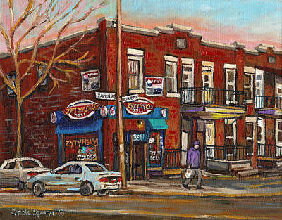 Montreal Street Life Painting - Zytynsky's Deli Rosemont Montreal by Carole Spandau