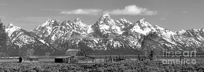 Mormon Row Moulton Barn Black And White Panorama Art Print by Adam Jewell