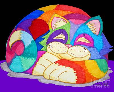 Animals Drawings - ZZzzzzzzzz Cat 3 by Nick Gustafson