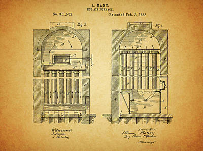 Drawing - 1885 Furnace Patent by Dan Sproul