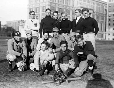 Sports Paintings - 1908 Columbia Freshman Baseball Team by Celestial Images