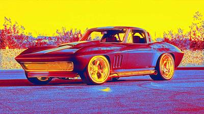 Royalty-Free and Rights-Managed Images - 1965 Corvette Optima Ultimate Street Car gradient neon coloring by Ahmet Asar, Asar Studios by Ahmet Asar