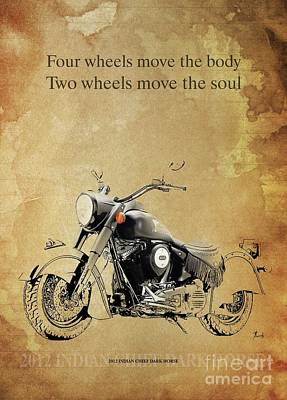 Animals Drawings - 2012 Indian Chief Dark Horse, Original Artwork. Motorcycle quote  by Drawspots Illustrations