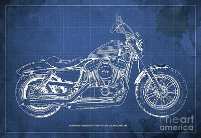 Harle Wall Art - Digital Art - 2018 Harley-davidson Forty-eight Xl1200xs Special, Blueprint Blue Background by Drawspots Illustrations