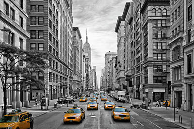 Yellow Photograph - 5th Avenue Nyc Traffic by Melanie Viola