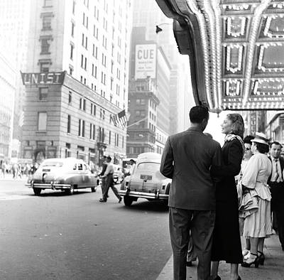 Photograph - A Couple Under A Lit Theater Marquee by Rae Russel