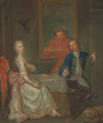 Painting - A Dinner Conversation by Marcellus Laroon the Younger