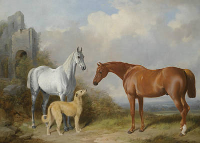 Painting - A Grey And A Chestnut Hunter With A Deerhound by William Barraud