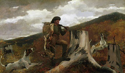 Camo Wall Art - Painting - A Huntsman And Dogs, 1891 by Winslow Homer