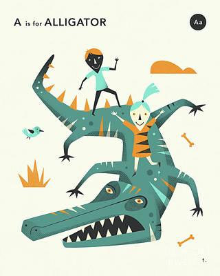 Illustration Digital Art - A Is For Alligator 2 by Jazzberry Blue