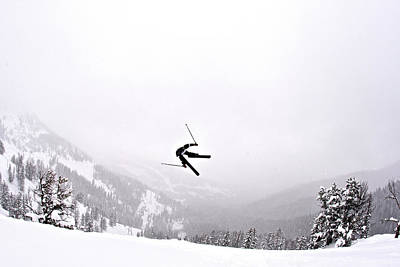 Photograph - A Man Sideways In The Air On Teton by Derek Diluzio