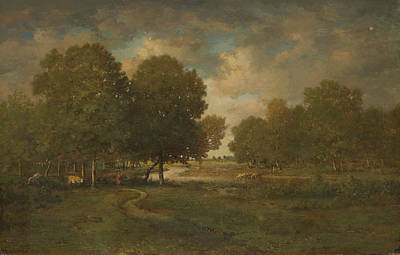 Painting - A River In A Meadow by Theodore Rousseau