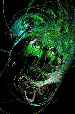 Namaste With Pixels - Abstract Octopus Fractal Art Green by Don Northup