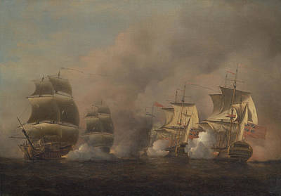 Painting - Action Off The Cape Of Good Hope by Samuel Scott