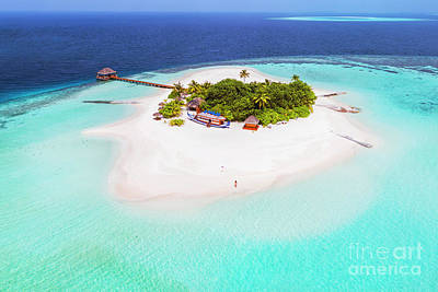 Photograph - Aerial Drone View Of A Tropical Island, Maldives by Matteo Colombo