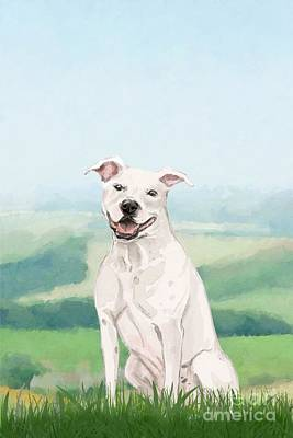 Landmarks Painting Royalty Free Images - American Staffordshire Terrier Royalty-Free Image by John Edwards