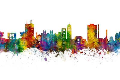 Digital Art - Ann Arbor Michigan Skyline by Michael Tompsett