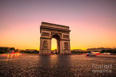 Photograph - Arc De Triomphe Sunset by Benny Marty