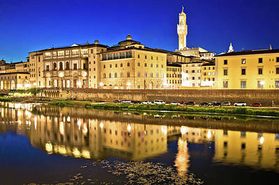Tool Paintings - Arno river waterfront and Florence landmarks evening view by Brch Photography