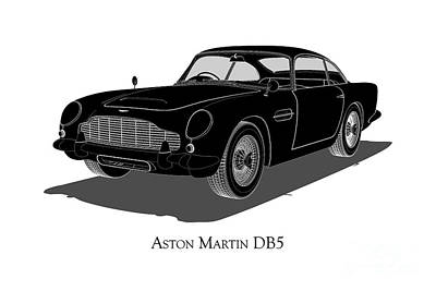 Digital Art - Aston Martin Db5 - Front View by David Marchal