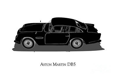 Digital Art - Aston Martin Db5 - Side View by David Marchal