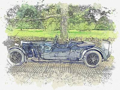 Design Turnpike Vintage Maps - Aston Martin MKII Ecurie BertelliAston Martin MKII Ecurie Bertelli watercolor by Ahmet Asar by Ahmet Asar
