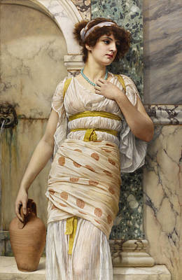 Painting - At The Fountain by John William Godward