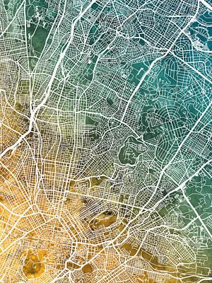 Digital Art - Athens Greece City Map by Michael Tompsett