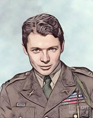 Digital Art Royalty Free Images - Audie Murphy, Vintage Actor and War Hero Royalty-Free Image by John Springfield