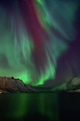 Photograph - Aurora Borealis In Ersfjordbotn by John Hemmingsen