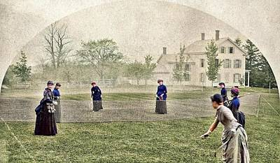 Wild Weather - Badminton, May 15, 1886 by Abbot Academy colorized by Ahmet Asar colorized by Ahmet Asar by Ahmet Asar